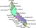 mapa con partidos y departamentos que la confroman