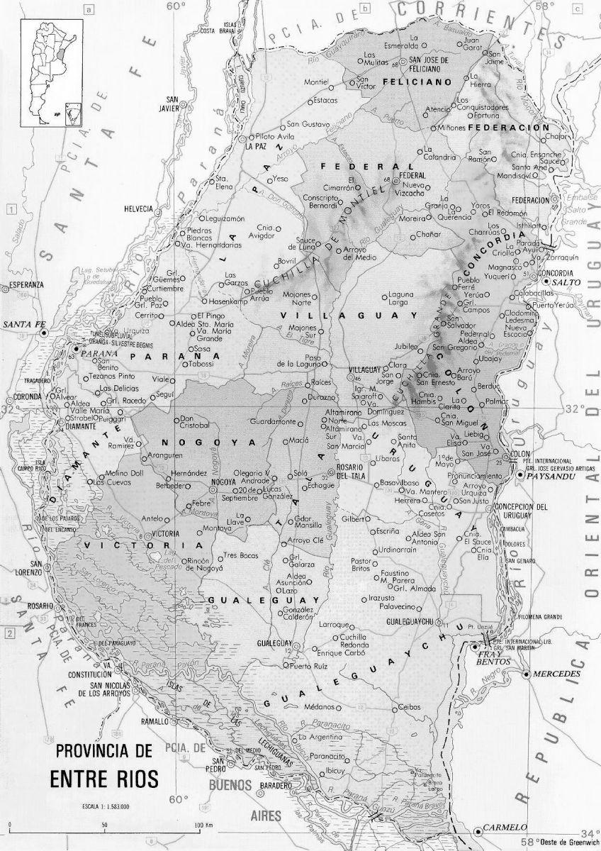 ver mapa de entre ríos politcico blanco negro