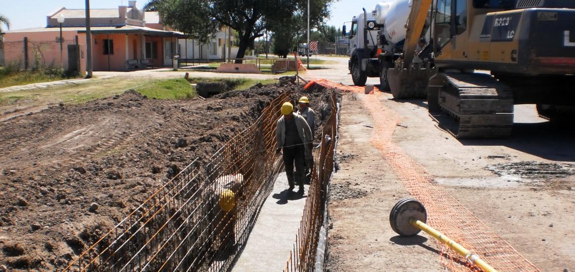La obra de desagües en Tabossi está en casi un 40 por ciento de ejecución